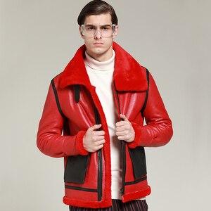 Image 4 - Neue winter echtem leder kleidung männlichen echte schafe leder herren kleidung oberbekleidung red herren winter warme mantel