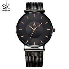 цены Shengke Fashion Black Women Watches 2017 High Quality Ultra thin Quartz Watch Woman Elegant Dress Ladies Watch Montre Femme SK