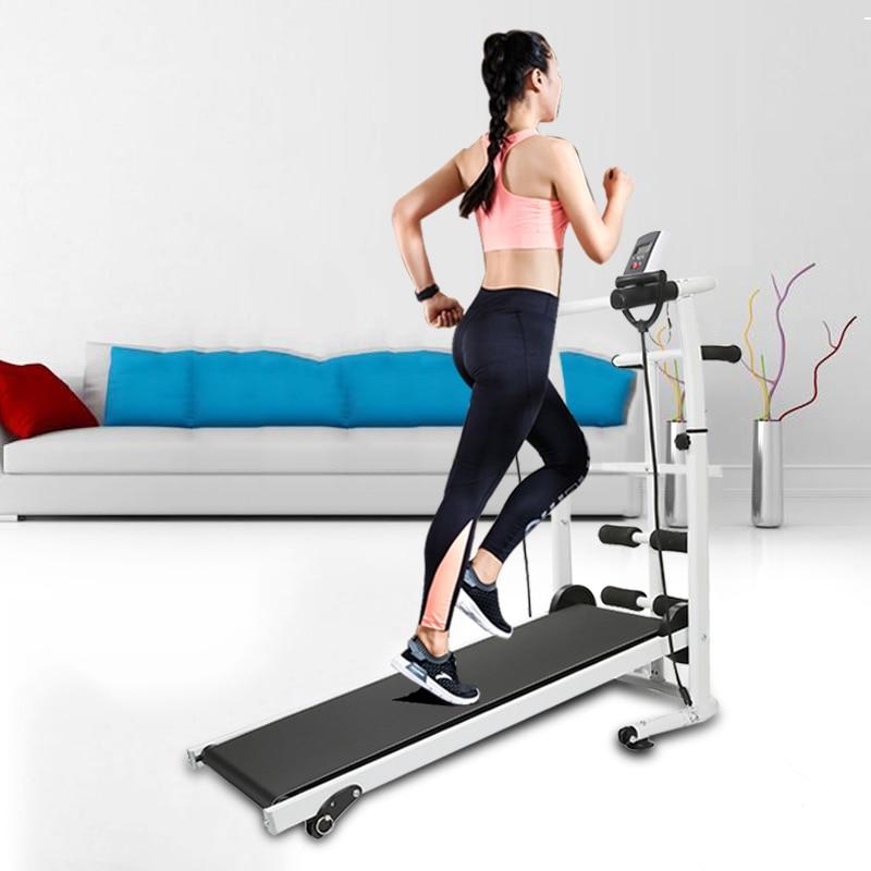 Folding Treadmill Mechanical Power Treadmill Running Training Machine Sit-ups LED Dial Gym Home Exercise Fitness Equipment HWC