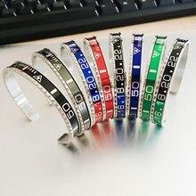 2021new várias cores dial aço velocímetro pulseiras & pulseiras de aço inoxidável pulseiras manguito pulseira bezel para mulher/homem