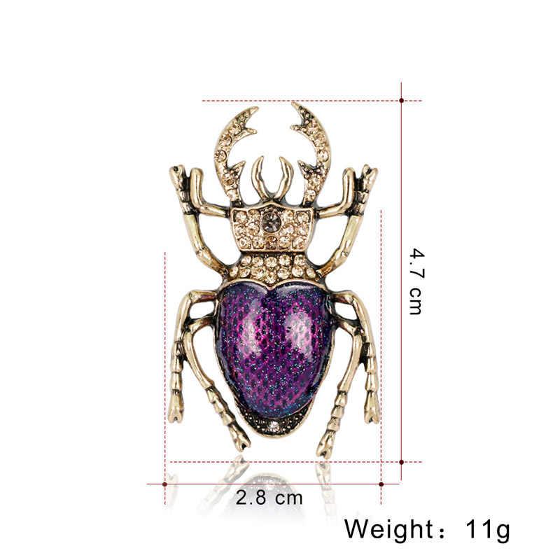 Sogno Della Caramella 2 Colori Dello Smalto Beetle Spille per Le Donne Spilla di Strass Insetto Spille Degli Uomini Dei Monili Accessori di Moda 2019 di Vendita Calda