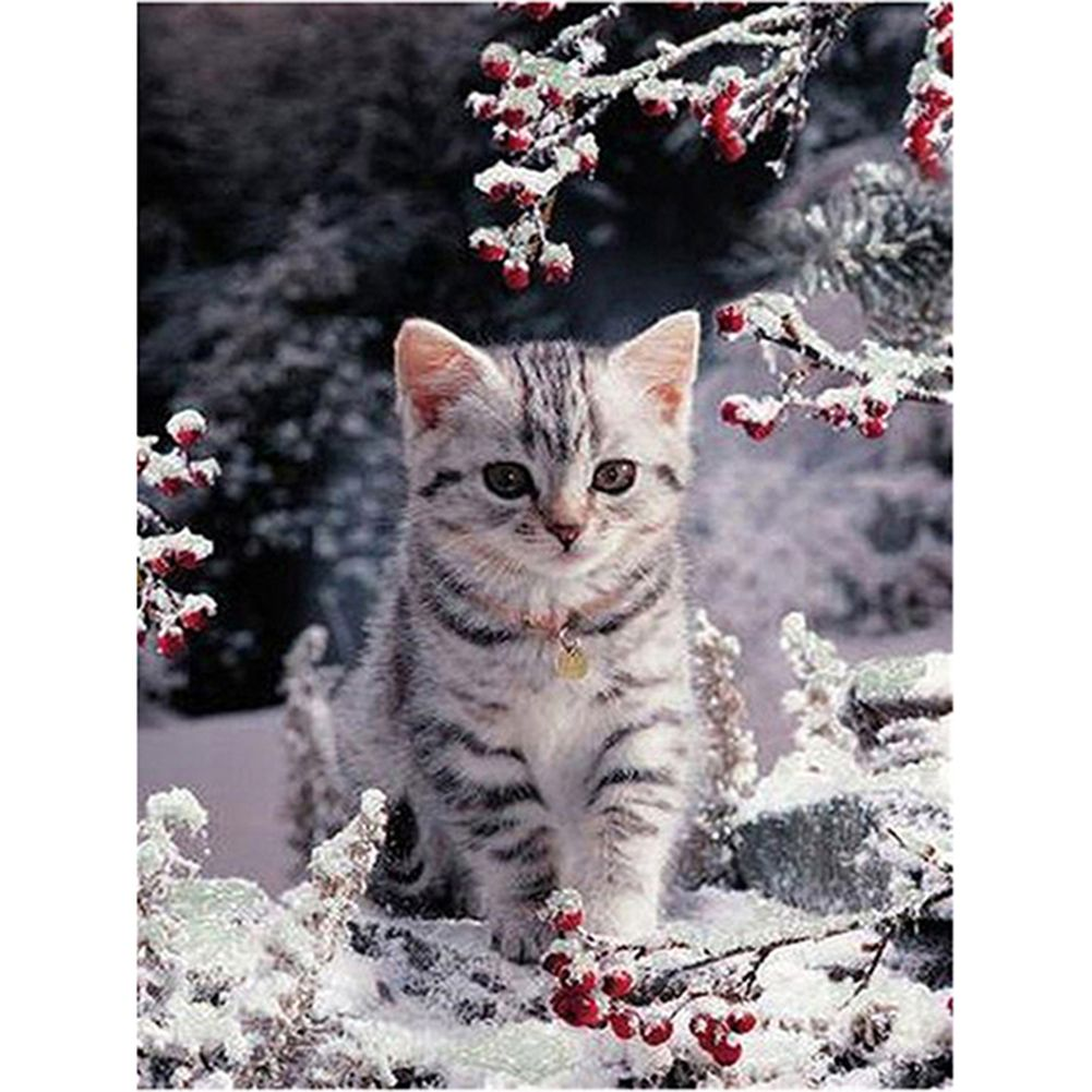 Full Drill White Cat 5D Diamond Painting Embroidery DIY Cross Stitch Kits Mosaic