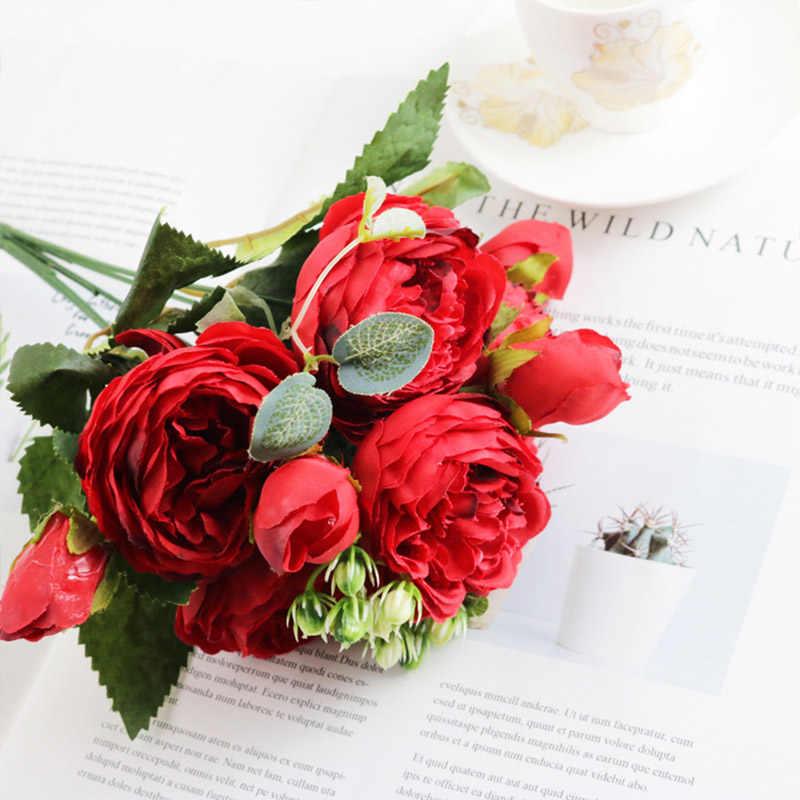 ราคาถูก 30 ซม.กุหลาบสีชมพู Peony ดอกไม้ประดิษฐ์ 5 หัวขนาดใหญ่และ 4 Bud ดอกไม้ปลอมสำหรับครอบครัวงานแต่งงานตกแต่งในร่ม
