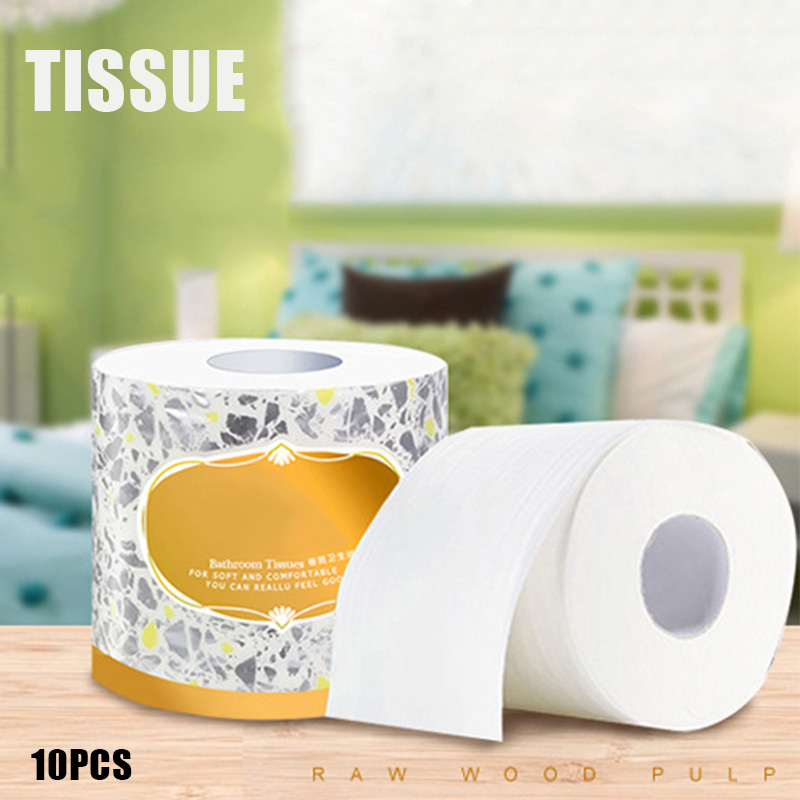 2019 10 Rolls Toilet Paper 3-ply Bath Tissue Bathroom White Soft Home Hotel Public