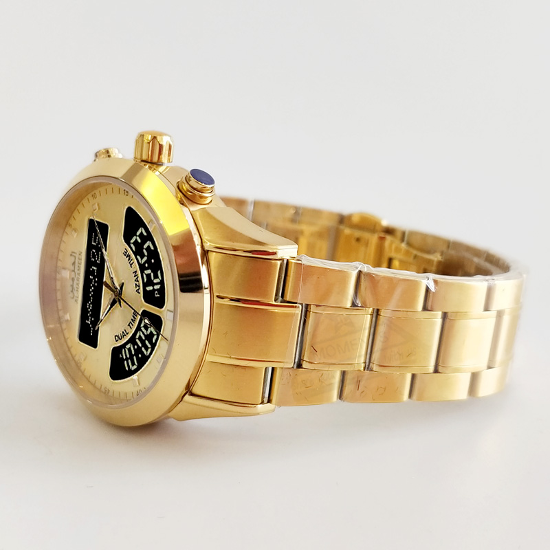 Islamic Wristwatch with Qibla Azan Time for Muslim Prayer Watch Man Qibla Clock with Hijri Calendar and Compass in Gold Color