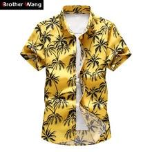 2020 Summer New Men's Hawaiian Shirt Fashion Casual Printing Short Sleeve Flower Shirt Male Brand Plus Size 5XL 6XL 7XL