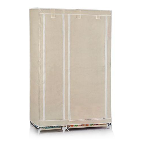 Foldable Double Canvas Wardrobe Clothes Rail Hanging Storage Cupboard Shelves