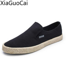 Black High Quality Mens Casual Loafers Breathable Solid Slip on Mens Canvas Shoes Soft Bottom Men's Sneakers