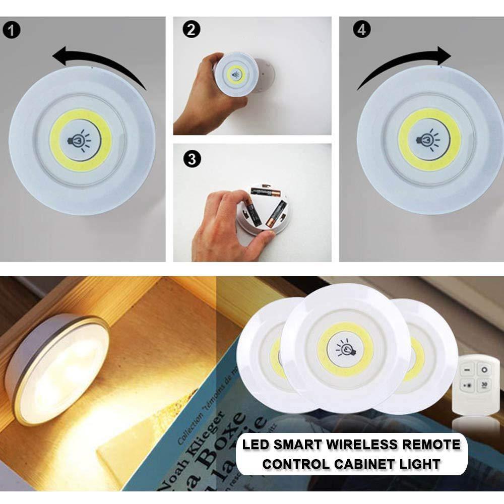 3W Super Heldere Cob Onder Kast Licht Led Draadloze Afstandsbediening Dimbare Garderobe Night Lamp Home Slaapkamer Kast Keuken 5