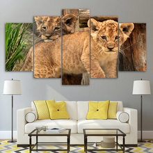 Wall Art Canvas Painting HD Printed Poster Framework Home Decoration 5 Pieces Animal Leopard for Living Room Modular Pictures