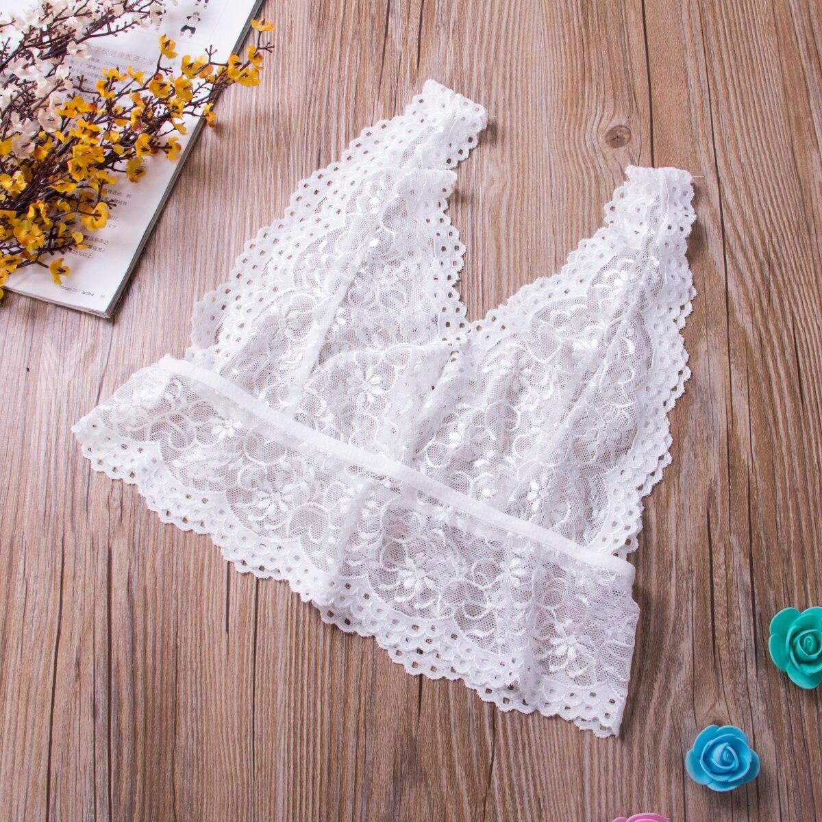 Fashion Underwear Sexy Women Deep V Floral Lace Lingerie Bralette Crop Top Unpadded e Bra Sheer Mesh Bra