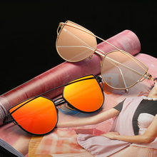 2019 NEW Women Cat Eye Sunglasses Metal Twin-Beams Sun Glasses Coating Mirror Glasses Classic Brand Designer Flat Panel Lens