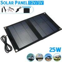 25W Folding Solar Cells Foldable Solar Panel USB Port Charger Mobile Power Bank for mobile phone Battery Cigarette Lighter