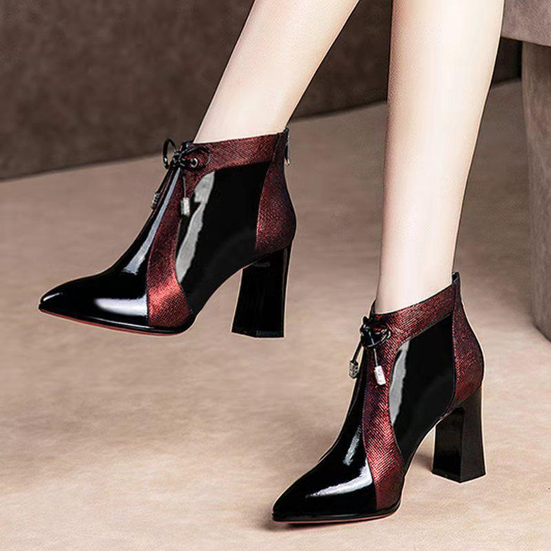 2019 Women/'s Pointed Toe Patent Leather Chunky Heels Winter Shiny Ankle Boots
