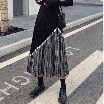 2021 Winter Women's Fashion Houndstooth Midi Skirt Female High Waist Pleated Knitted Thick Black Warm Skirts image