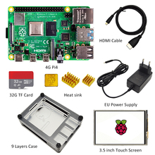 Case Power-Adapter Screen Heat-Sink Hdmi-Cable Display Raspberry Pi SD 4GB with