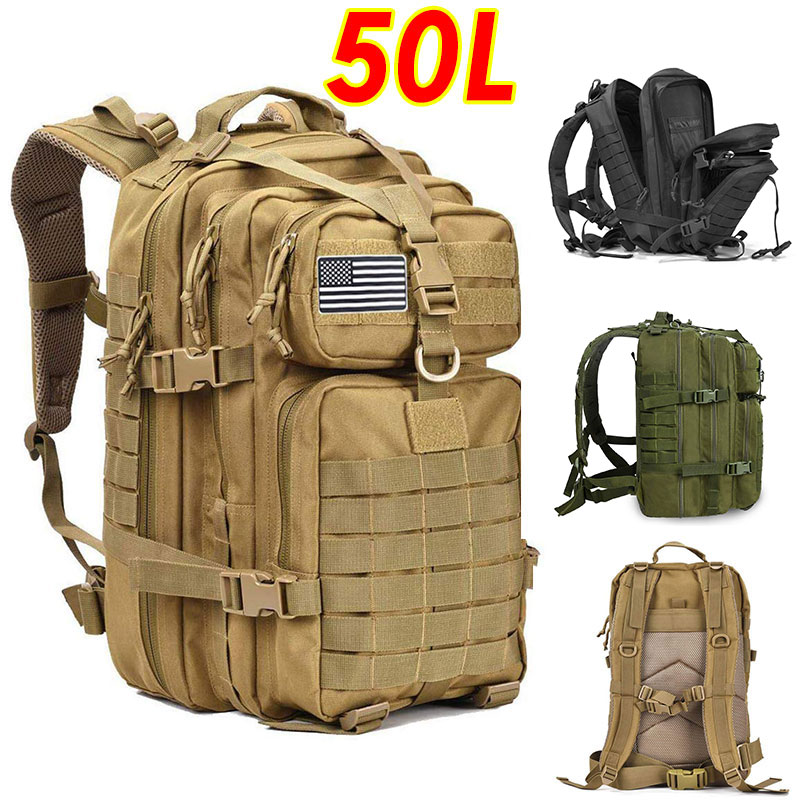 50L Large Capacity Men Army Military Tactical Backpack 3P Softback Outdoor Hiking Camping Rucksack Hunting camping travel bag Climbing Bags  - AliExpress