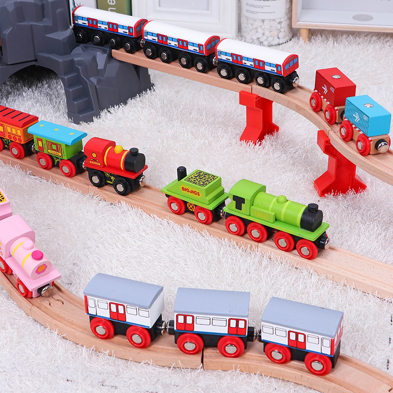 Wooden Simulation Train Compatible Various Brand Tracks Inertia Hand Train Fit Wooden Train Track Toy For Kids