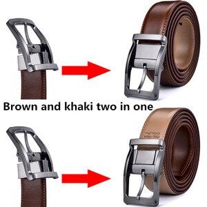Image 2 - Мужской Реверсивный классический кожаный ремень с вращающейся пряжкой от 85 см до 160 см два в одном от Beltox fine