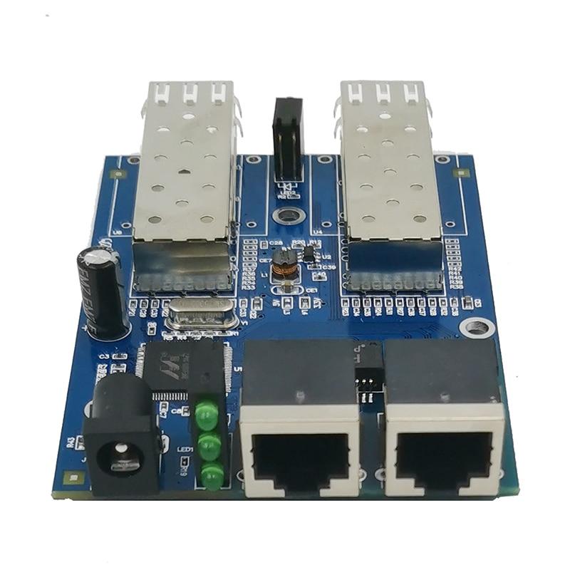 Gigabit Ethernet Fiber Switch 2 RJ45 UTP 2 SFP Fiber Gigabit Fiber Optical Media Converter 2SC 2RJ45 Ethernet 10/100/1000M PCB