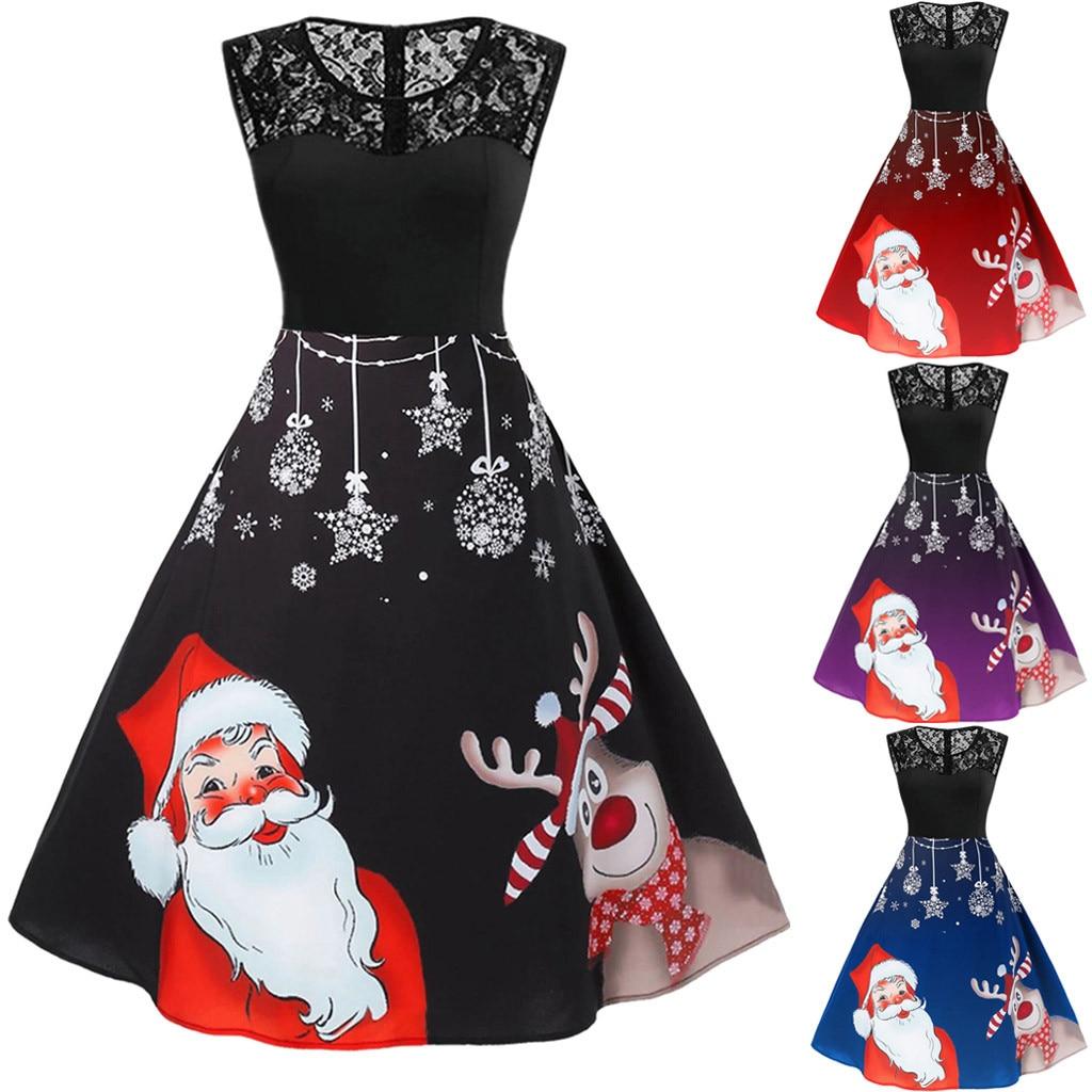 winter dress women Vintage Sleeveless christmas dress Print Housewife Party Prom party dress  vestidos ropa mujer sukienki