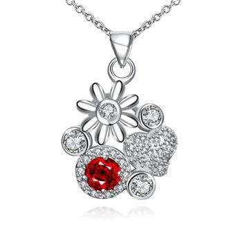 Fashion Silver Floral Flower Red Necklace Pendant Crystal Necklaces Stone Jewelry Gift Bulk Items Wholesale SPN095-C 2021 image