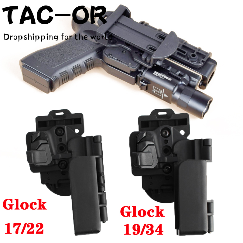 Combate tático nível da mão direita 3 transportar rápida owb arma caso cintura cinto coldre pistola titular para glock 17 19 22 34 dropshipping