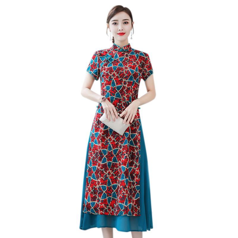 2020 Ao Dai Red Style Ao Dai Vintage Ethnic Aodai Long Sleeve Qipao Women Silk Long Cheongsams Dress For Party