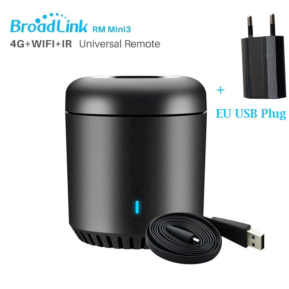 Broadlink 2020 RM4C Mini Smart Home RM Mini3 WiFi+IR Remote Control AC TV Control Work Alexa Google Home IFTTT 433MHz Black Bean