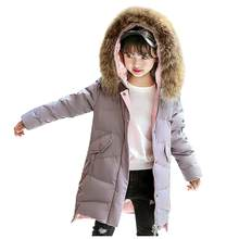 Coat For Girls New Hot Winter Faux Fur Hooded Parka Down Coat Puffer children's Jacket Padded Overcoat Kid Clothes manteau fille(China)