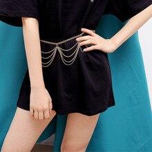 Fashion Tassel Waist Chain for Women Temperament Multi-layer Wavy Body Chain Ladies Retro Geometric Waist Chain