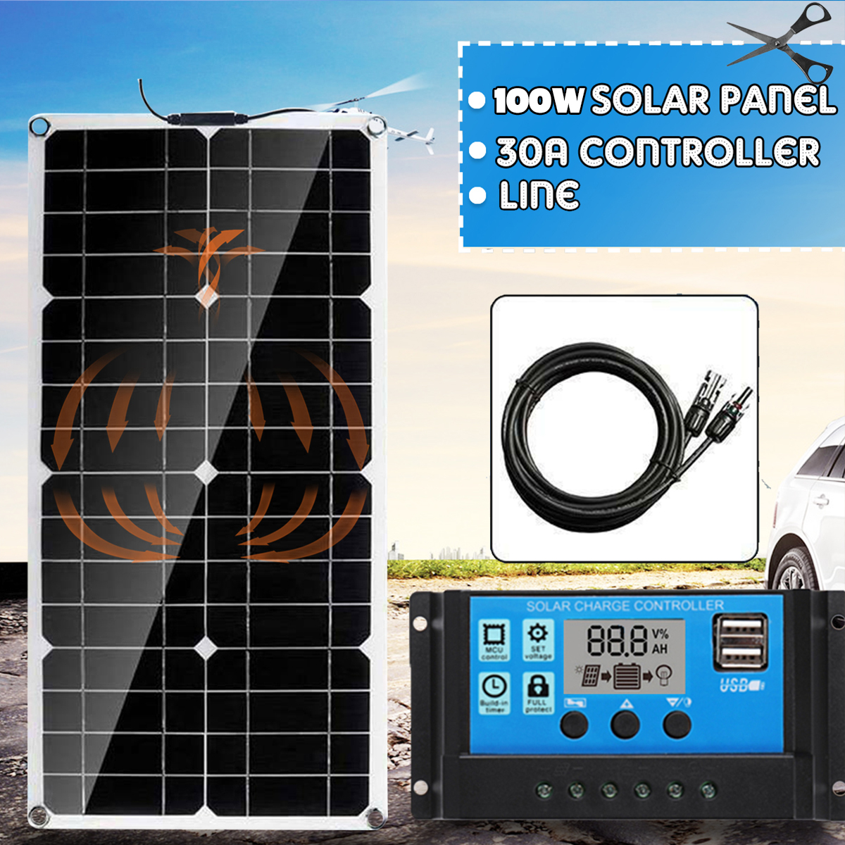 100W Solar Panel 18V Solar Power Panel +Line + 30A Solar Charge Controller For Outdoor Camping Car Boat Solar Battery