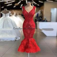 Горячая Распродажа Красные кружевные коктейльные платья с перьями