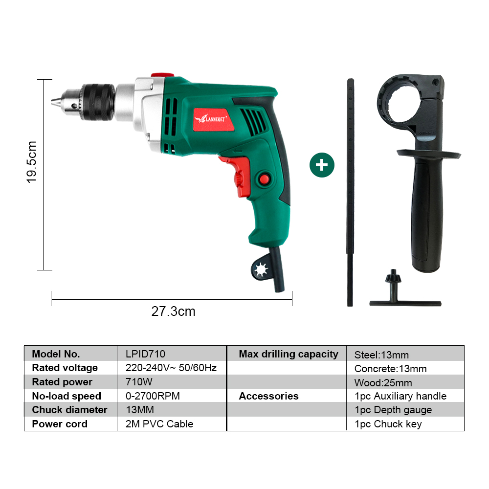 Electric Drill Function Drill Impact Tools Power AC Adjustable Multi 710W LANNERET Speed Dril LHammer Woodworking