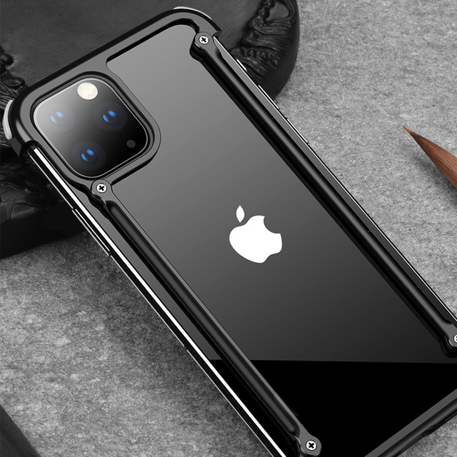 iPhone 11 Pro Max Luxury Metal Frame Airbag Shockproof Back Bumper Case Cover