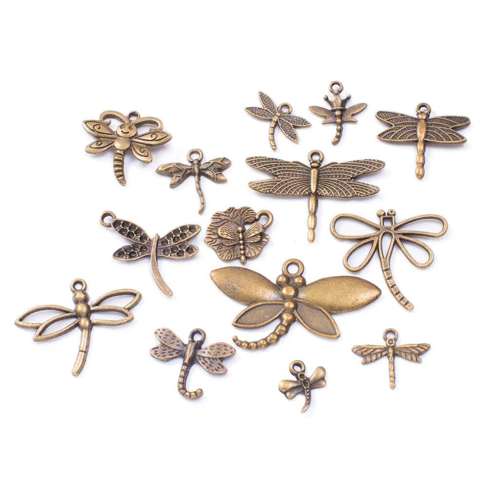 50 กรัม 100 กรัมผสมแมลงปอโลหะเสน่ห์จี้วินเทจโบราณบรอนซ์เงินสร้อยข้อมือสร้อยคอสำหรับเครื่องประดับ DIY ทำมือ