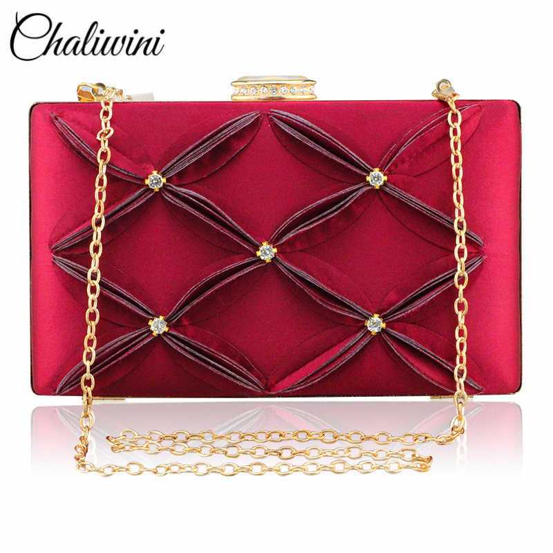 Chaliwini New Silk Flower Pattern Crystal Women's Evening Shoulder Bag Silver Bridal Clutch Party Prom Wedding Envelope Handbag
