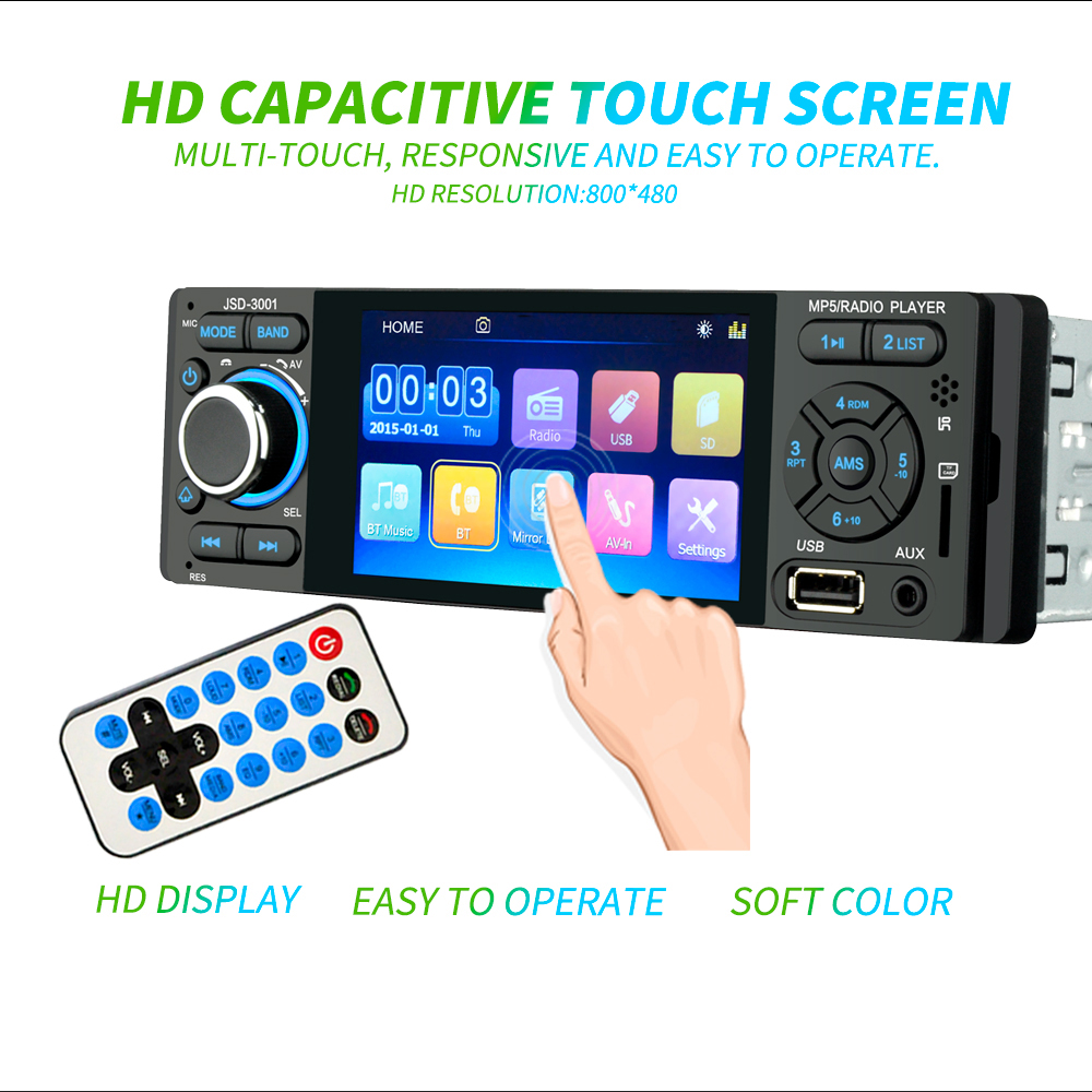 Autoradio 1 Din Car Radio JSD-3001 4.1 MP5 Car Player Touch Screen Car Stereo Bluetooth 1Din Auto Radio Camera Mirror Link image