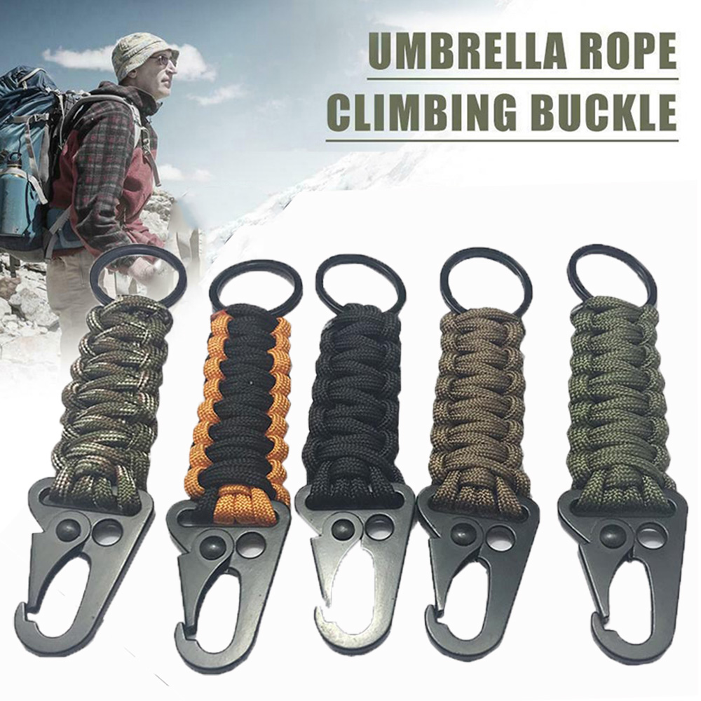 Braided Rope Keychain Carabiner Braided Lanyard Hook Emergency Key Chain For Outdoor Activity Hiking Camping Tools