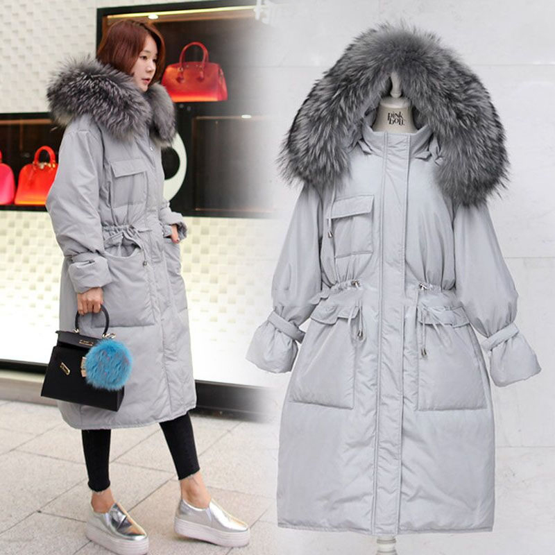 Natural Large Raccoon Fur Women Jacket Warm Winter 2020 90% Duck Down Parkas Windbreaker Hoooded Casaco Feminine LX1184
