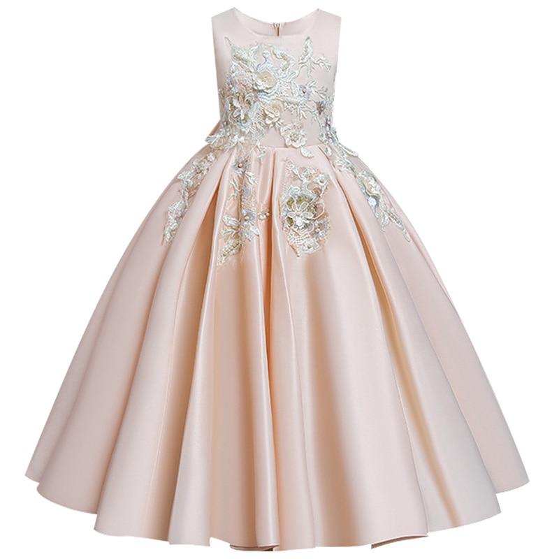 Пышные платья для девочек; платье для первого причастия; детское платье для свадебной вечеринки; платье для дня рождения; кружевные вечерние платья с лепестками для девочек; длинное платье для торжеств - Цвет: Champagne