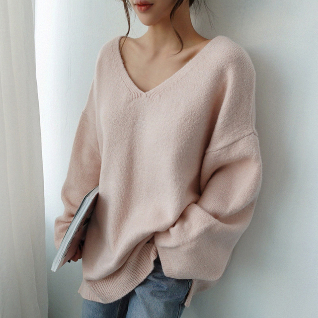 Ailegogo Women V-neck Sweater Loose Fit Autumn Winter Warm Casual Knitted Tops Female Long Solid Color Knit Pullovers 4