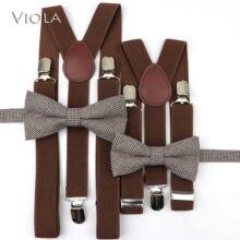 Conjuntos de tirantes a rayas a cuadros para niños Y niñas, ropa con tirantes para espalda, con cinturón Y pajarita de mariposa de algodón