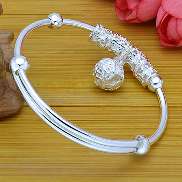 Fashion Silver 925 Sterling Silver Charm Stone Bangle Cuff Bracelet Ball Bell Pendants Women Jewelry Gift 4