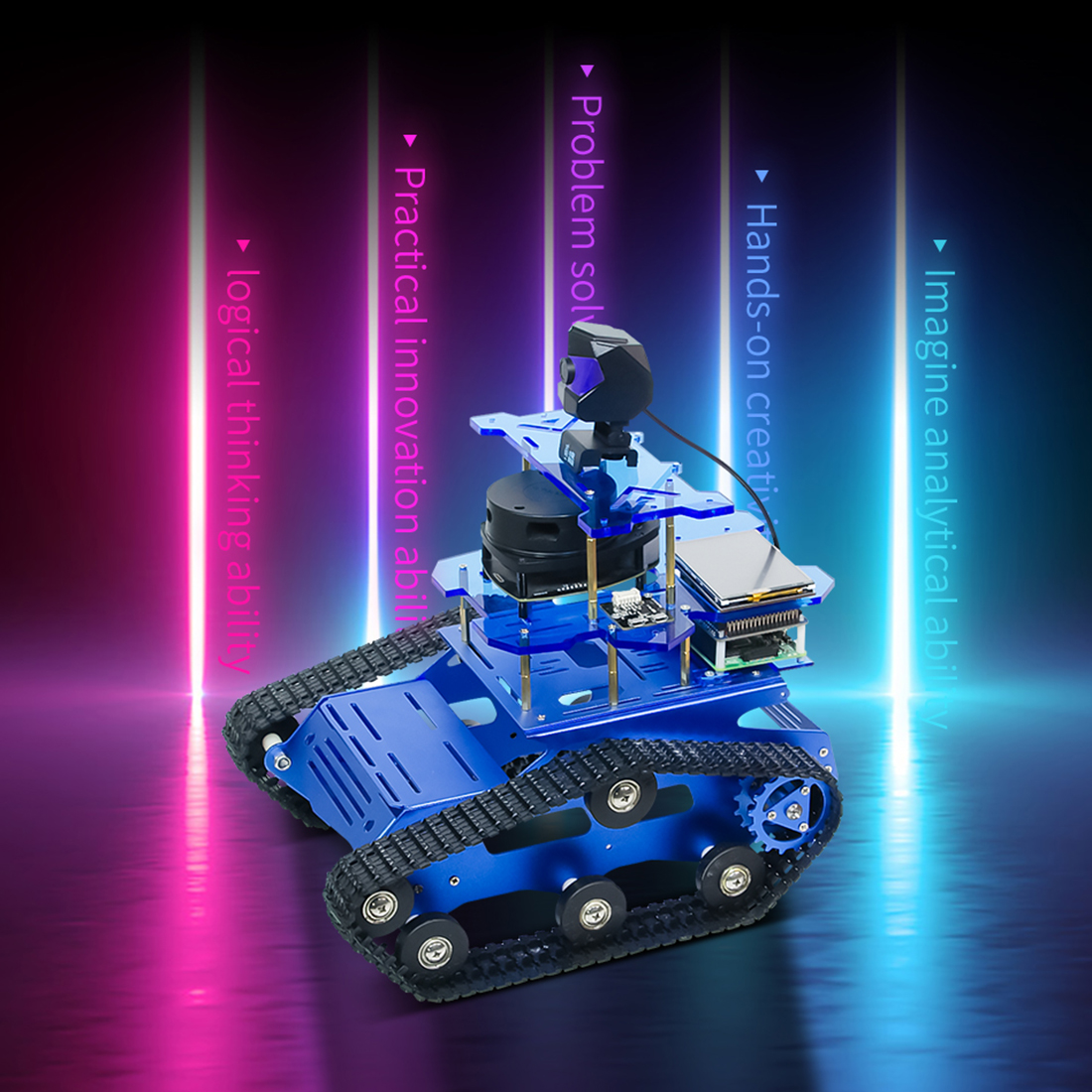 Children DIY Smart Programmable Robot Tank Chassis Car With Laser Radar For Raspberry Pi 4 (2G) For Kids Gift- Blue/Yellow/Black