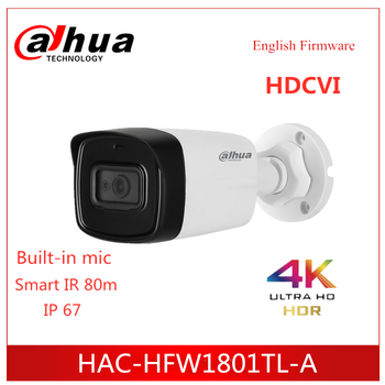 Dahua Camera Lite Plus Series 4K HDCVI Camera IR Bullet Camera HAC-HFW1801TL-A Built in MIC IR 80m IP67 Security camera