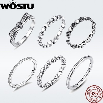 WOSTU Hot Sale 925  Sterling Silver Rings For Women European Original Wedding Fashion Brand Ring Jewelry Gift wostu 2018 fashion 925 sterling silver convallaria pendant necklace for girl women silver jewelry original brand gift cqn229