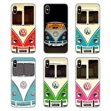 Vintage Volkswagen VW Minibus T1 Pink Biru Bus untuk IPod Touch iPhone 4 4S 5 5S 5C SE 6 6S 7 8 X XR X Plus MAX TPU Silicone Case(China)