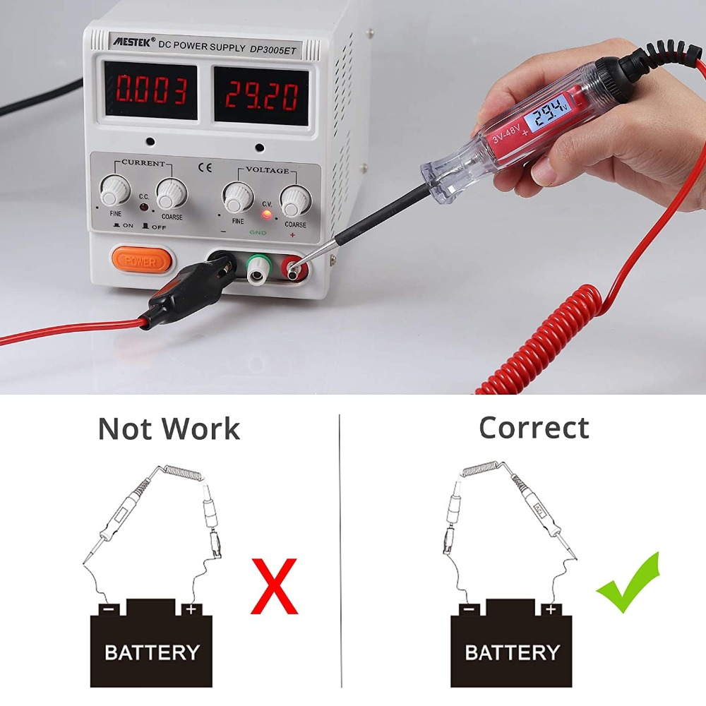 AWBLIN Digital LCD Automotive Circuit Tester 3-48V Heavy Duty Test Light with 140 Inch Extended Spring Wire Vehicle Circuits Low Voltage Test Light Tester with Sharp Stainless Probe