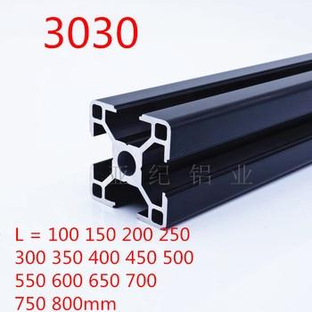 1PC BLACK 3030 European Standard Anodized Aluminum Profile Extrusion 100-800mm Length Linear Rail for CNC 3D Printer cnc 3d printer parts 4pcs lot european standard anodized linear rail aluminum profile extrusion 3030 for diy 3d printer